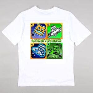 Geometry Dash Gaming Fans T-shirt Girls Boys Tee - Personalised Free age 5-15