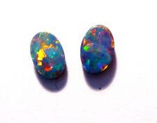Pair Beautiful Australian Opal Doublets 6x4mm Gem Grade Multicolour (3055)