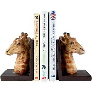 Giraffe Bookends Wildlife Animal Ends For Book Shelves Organizer Resin Pack of 2