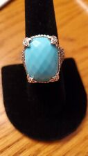 Judith Ripka 925 Silver Turquoise Monaco Ring with CZ's in Black Rhodium -Size 7