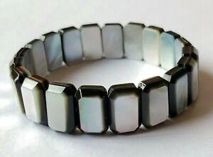 Modern Black Lip Mother of Pearl Shell Rectangular Bead Stretch Bracelet C4931
