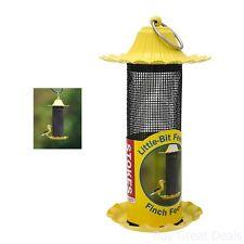 Little-Bit Feeders Finch Bird Feeder Metal Roof Yellow Large Stainless Steel