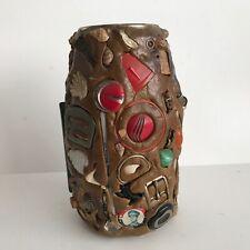 Vintage Folk Art Memory Jar 1940s Jug Pottery
