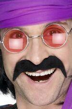 Smiffys Seventies Tash Mens Ladies 1970s Disco Fancy Dress BNWT Black Moustache