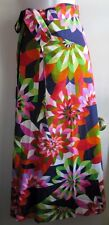 VTG CATHERINE OGUST for PENTHOUSE GALLERY 60's 70's MOD FLORAL WRAP SKIRT SZ S M