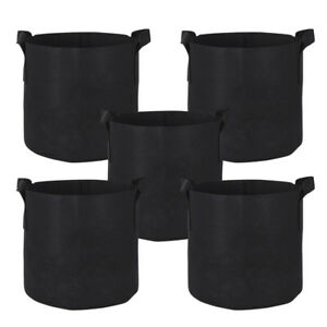 10-Pack Round Fabric Aeration Plant Pots Grow Bags 1 2 3 5 7 10 Gallon Black
