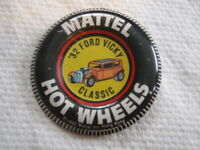 VINTAGE 1968 MATTEL HOT WHEELS RED LINE 32 FORD VICKY CLASSIC TIN TAB BUTTON