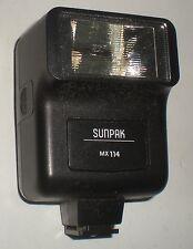 CAMERA FLASH SUNPAK MX114 MX 114 35 FILM HOT SHOE TESTED & MANUAL CLEAN BATTERY