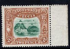 St Lucia 1902 2d Green & Brown SG63 (ERROR VAR) - MARGINAL UNMOUNTED MINT