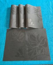 """New listing Set 4 Brown/Bronze Woven Plastic Placemats 13"""" X 18"""""""