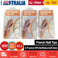 3x 100PCs French Nail Tips Natural White Clear Fake False Nails With Box Arcylic