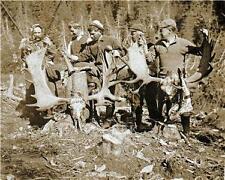 5 HUNTERS 2 HUGE MOOSE RACKS 1908 ALASKA HUNTING PHOTO