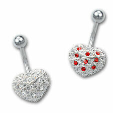 Jeweled Heart Mesh Design 2 Colors Stainless Steel Body Piercing Belly Ring With