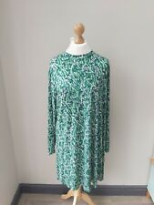 Marks And Spencer Green Floral Print Tie Dress Size 20