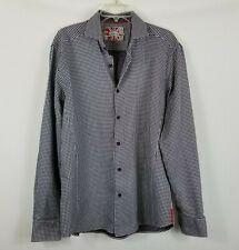 7 Downie Street Couture Shirt Navy Blue White Polka Dot Flip Cuffs Men's Size M