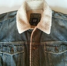 Vintage Gap XL Sherpa Faux Fur Lined Denim Jean Jacket Trucker