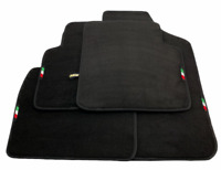 Floor Mats For Fiat 500 Tailored Black Carpets Set with Italian Emblem LHD NEW