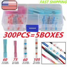 300x Soldercrimp Seal Wire Connector Heat Shrink Butt Electrical Terminals Kit
