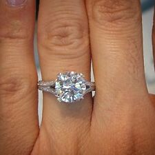 2.00 Ct. Natural Round Cut Split Shank Micro Pave Diamond Engagement Ring