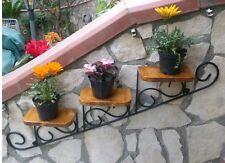 Mensola fioriera porta piante vasetti vasi in ferro battuto e legno rustico