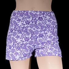 Girls Purple White Flower Bike Shorts, Girl's Dance Gym Gymnastics Roller Sports
