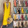Women's Printed Sleeveless V-neck Maxi Dress Split Hem Baggy Kaftan Long Dresses