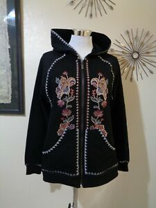 TIME FOR ME BLACK FLORAL EMBROIDERY COTTON KNIT ZIP FRONT BOHO HOODIE SZ S