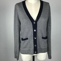 J Crew Womens Micro Striped Cardigan Size Large Navy White Button Up Long Sleeve