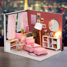 Diy Miniatures Dollhouse Wooden Christmas Room Kids Toy Gift Led Light D7X4
