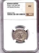ROMAN EMPIRE Philip I  AD 244-249 Silver Double Denarius NGC AU ANT Felicitas AC