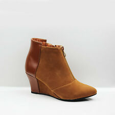 WOMENS SLIM WEDGE HEEL POINTED TOE ANKLE BOOTS BOOTIES LADIES SHOES SIZE 3-8