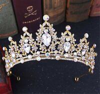 NEW Women Gold Rhinestone Crystal Wedding Bride Party Hair Headband Crown Tiara
