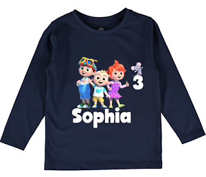 Cocomelon personalised tshirt boys girls toddler tops long sleeve birthday gift