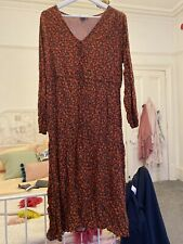 Black Midi Dress With Red Floral Print New look Size 18