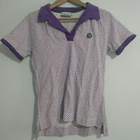 Wimbledon Ladies Polo Shirts Size Small Purple White  Green Logo Tennis Cotton