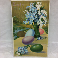 Vintage Easter Postcard Eggs and Flowers Not Used