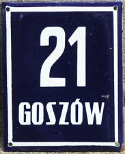 Large old Polish house number 21 door gate plate plaque enamel French blue sign