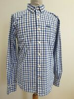 D724 MENS SUPERDRY NEW YORK BUTTON DOWN BLUE WHITE CHECK SLIM FIT SHIRT UK L