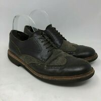 Tod's Wingtip Dress Shoes Mens 8 Brown Leather Lace Up Oxfords Herringbone