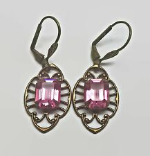 Gold Tone Pink Foil Backed Rhinestone Leverback Earrings