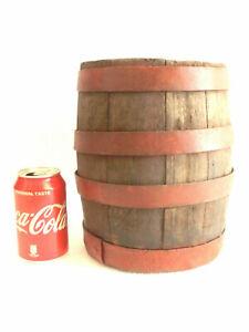 ANTIQUE small Oak wood whisky keg barrel bar decor wooden barrel orig. red paint