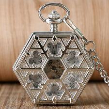 Vintage Roman Numerals Snowflake Hexagon Hand Wind Mechanical Pocket Watch Chain