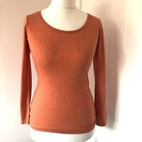 Orange Long Sleeved Top T Shirt By Visage Size 10 Scoop Neck BNWT