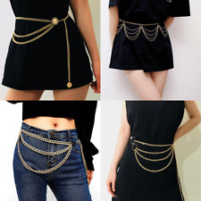 Women Metal Chain Waist Mirror Gold Color Waistband Chains Belt Chunky Fringes