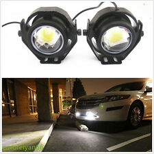 2 Pcs Black Shell Hawkeye White LED Cree U2 Autos Projector Fog Lights DRL Lamps