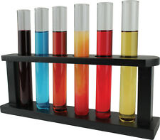 Clear Glass Novelty Test Tube Shot Glasses 6 Pcs Set with Holder Rack