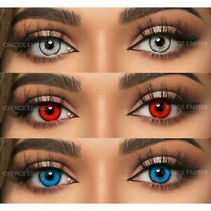 Monthly Grey, Red & Sky Blue Lens with solution and cases 3 Pair