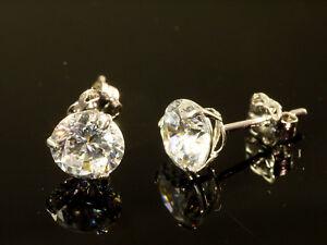 375 Gold Ohrstecker 1 Paar 6mm Grösse 3 Krappen mit Zirkonia Steinen