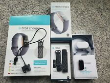 Fitbit Charge 3 Rose Gold Fitness Blue/Gray + Black Wristbands Original Owner