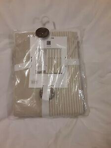 "Lush Decor Beige Woven Cotton Shower Curtain Farmhouse Button Stripe 72"" x 72"""